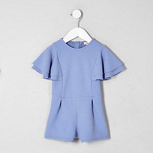 Blauer Overall mit Rüschenärmeln