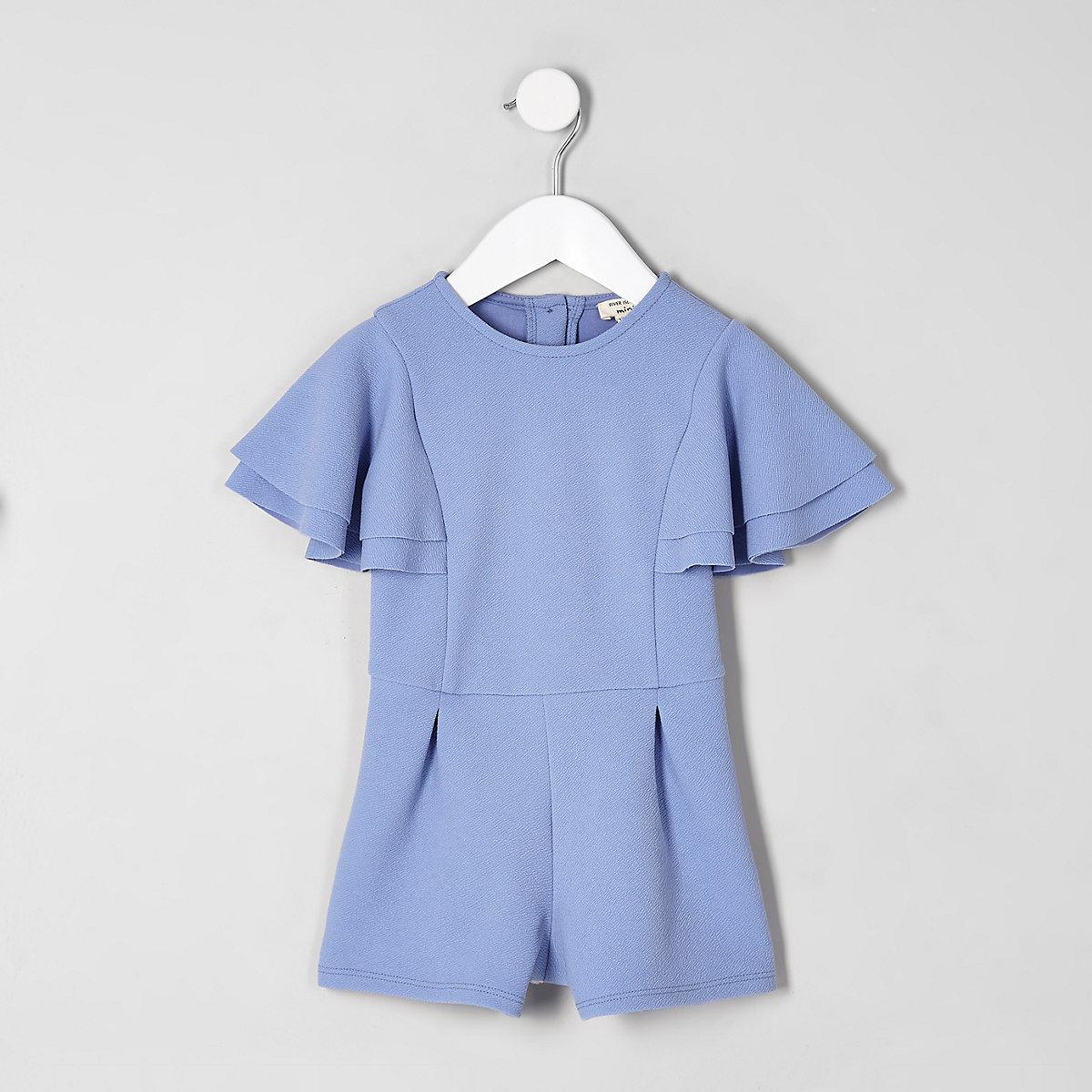 Mini girls blue frill sleeve romper