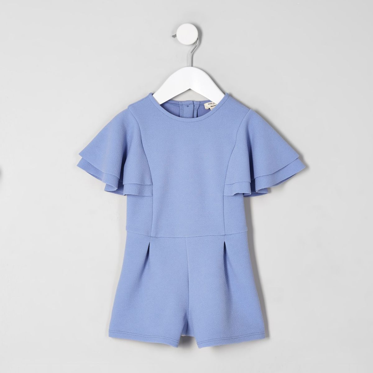 Mini girls blue frill sleeve romper