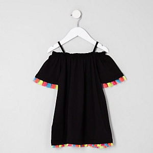Mini girls black tassel trim tapeze dress