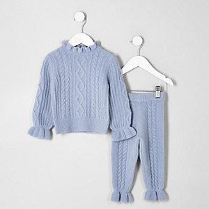 Mini - Set met blauwe gebreide kabeltrui voor meisjes