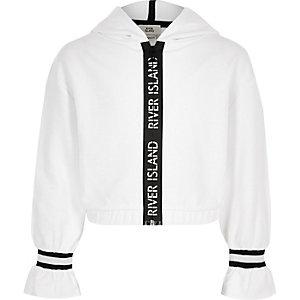 Witte hoodie met streep aan de zoom voor meisjes
