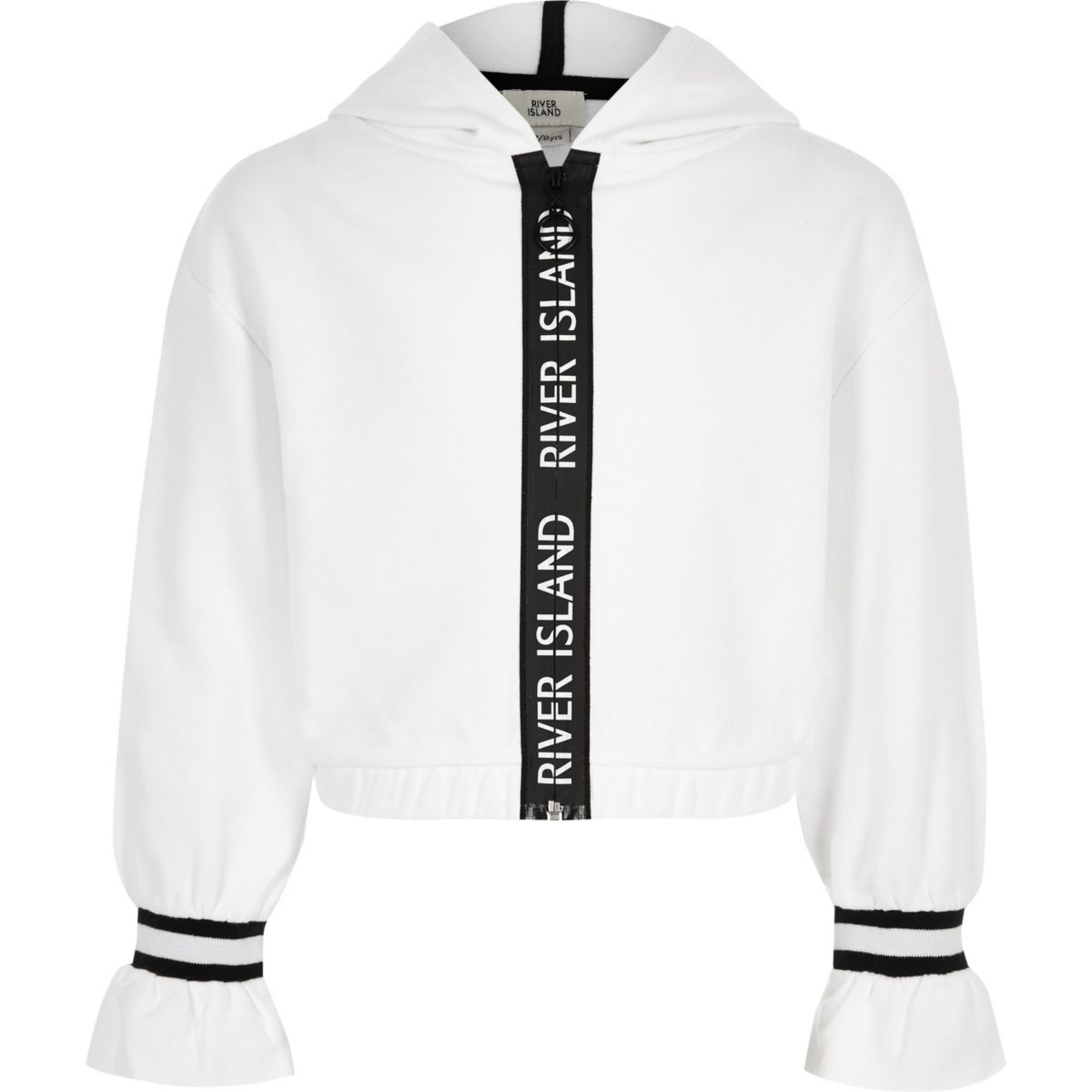 Girls white tape trim hoodie