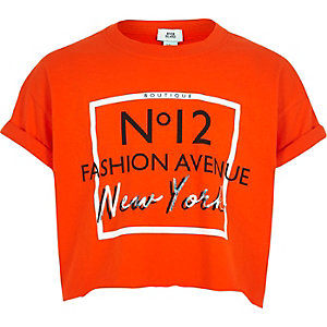 T-shirt court « Fashion avenue » orange pour fille