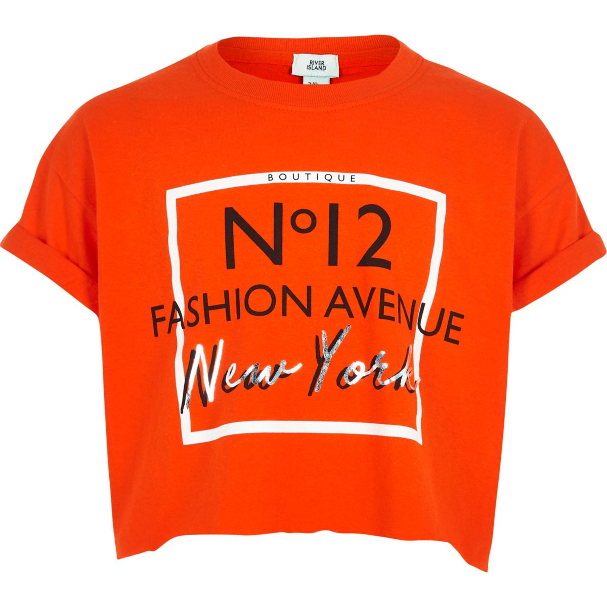 Girls orange 'fashion avenue' cropped T-shirt