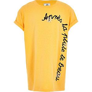 Girls yellow embellished short sleeve T-shirt