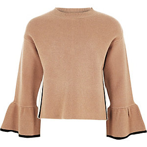 Girls brown knit bell sleeve sweater
