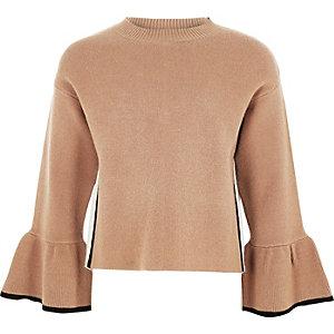 Girls brown knit bell sleeve sweater