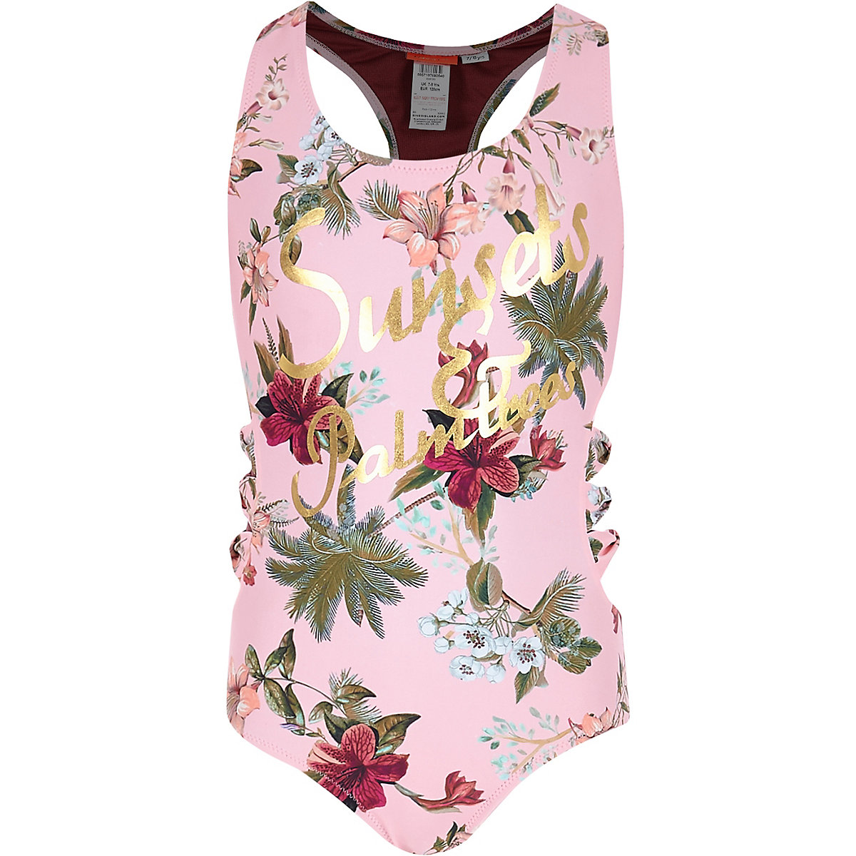 Girls pink floral 'sunsets' bow side swimsuit