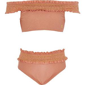 Roze gesmokte bikini met bardothalslijn voor meisjes
