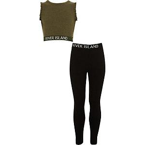 Outfit met kaki crop top met RI-logo en ruches voor meisjes