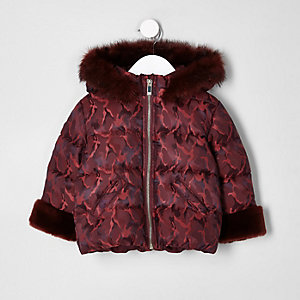 Mini girls red print faux fur padded coat