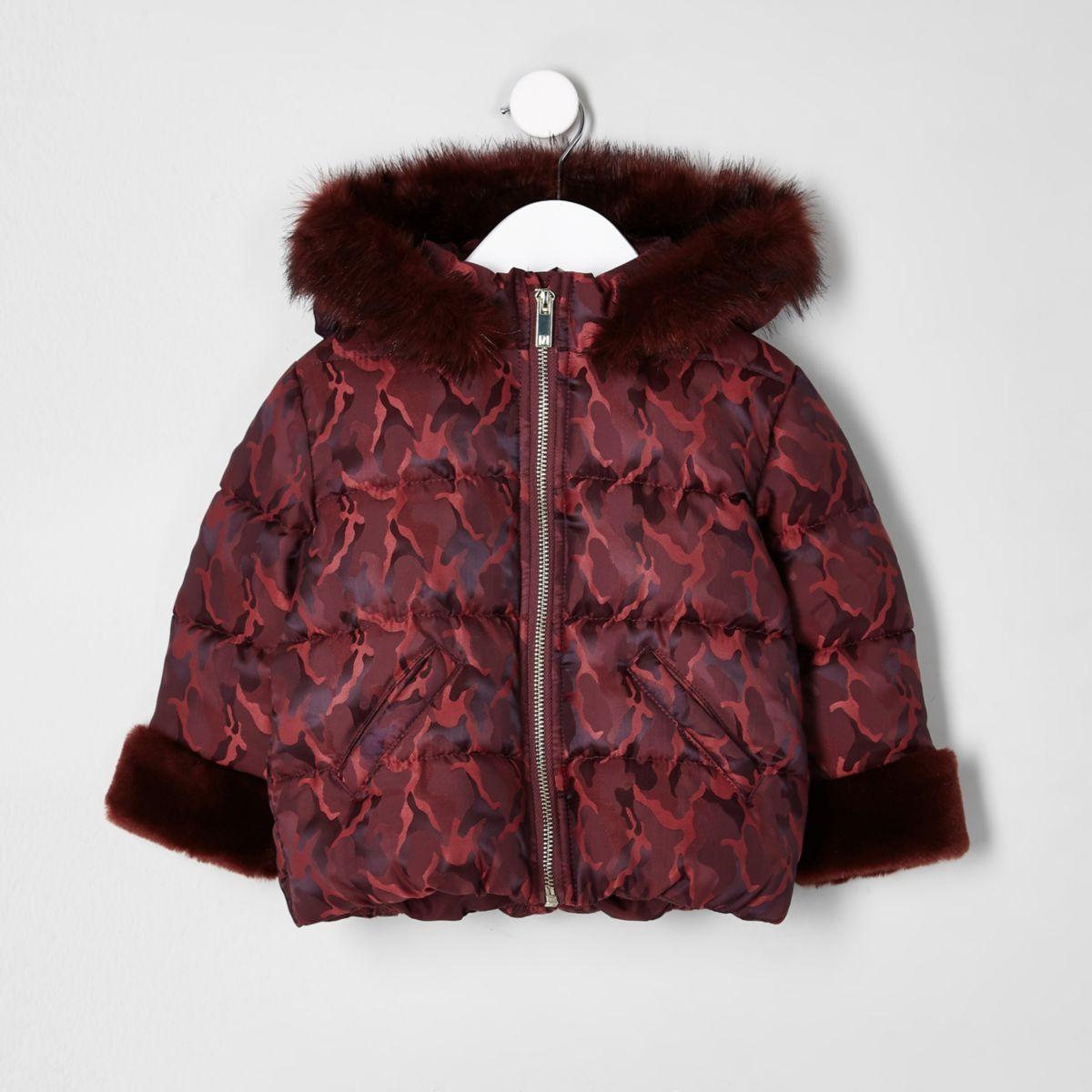 Mini girls red print faux fur padded coat