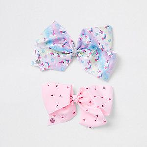 Jojo - Set roze strikken met eenhoornprint voor meisjes