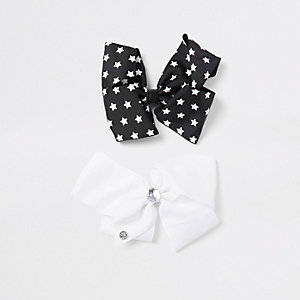 Girls black star print JoJo bow