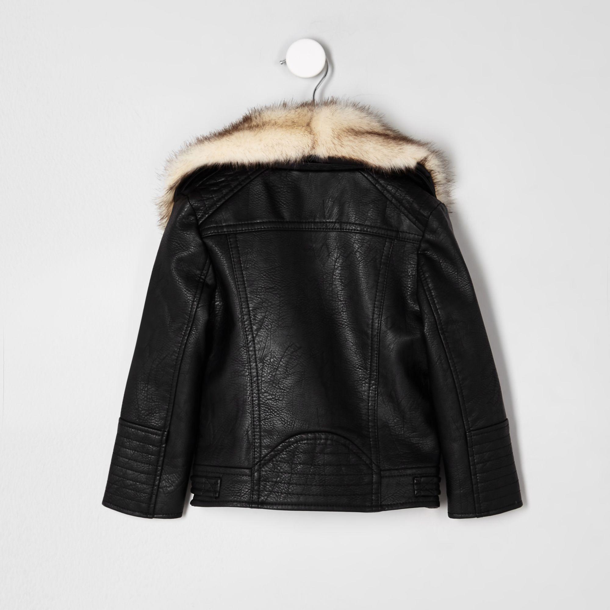 33902c8b3 River Island Mini girls black faux fur trim biker jacket at £35 ...