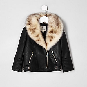 Mini girls black faux fur trim biker jacket