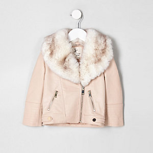 Mini girls cream faux fur biker jacket