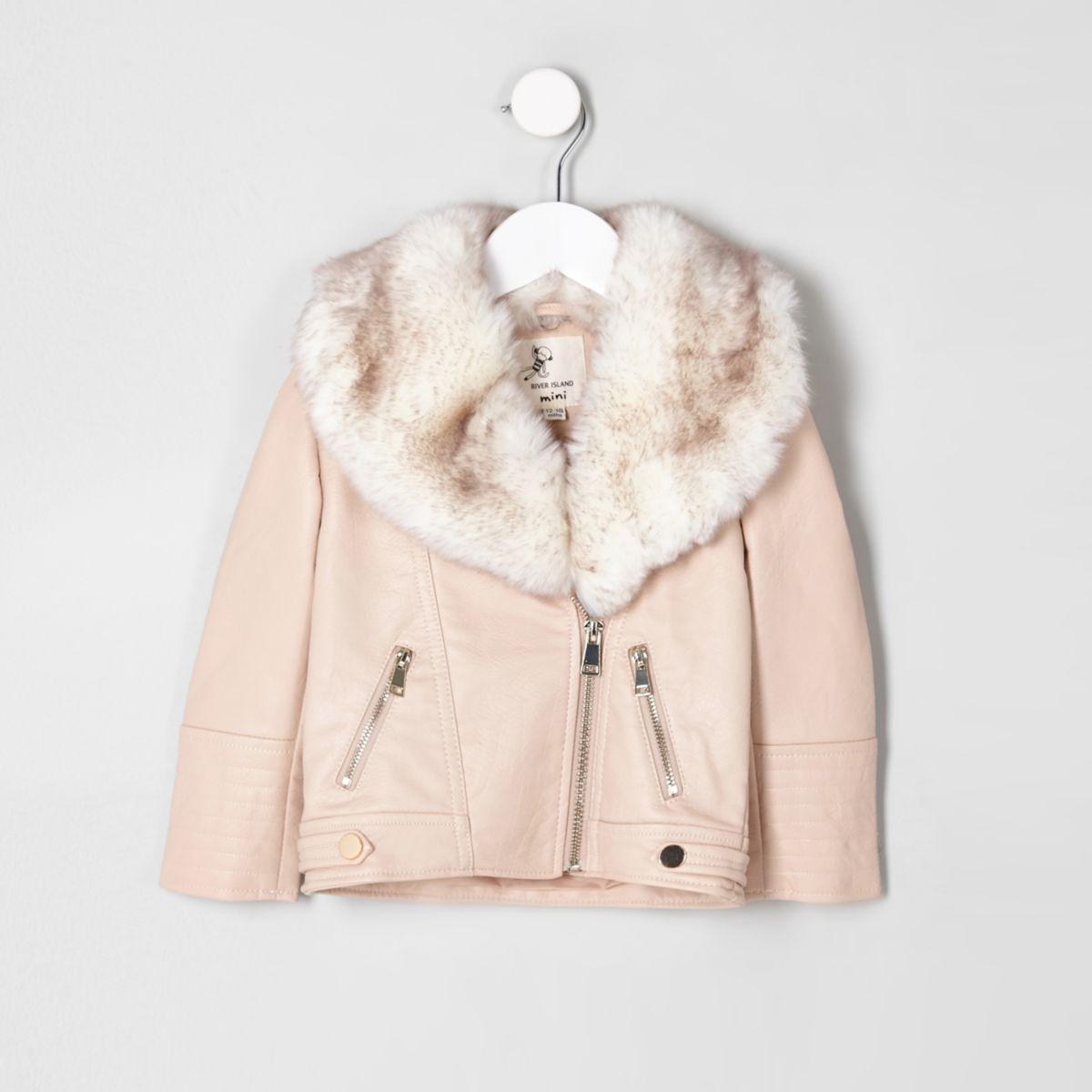Mini girls cream faux fur biker jacket