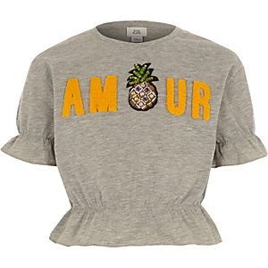 Girls Grey 'amour' pineapple crop T-shirt