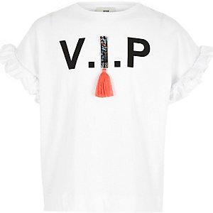 Weißes T-Shirt mit Rüschen