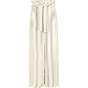 Girls cream stripe paperbag waist pants