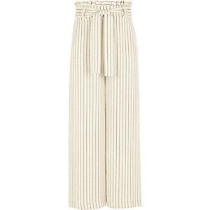 Pantalon rayé crème à taille haute ceinturée pour fille