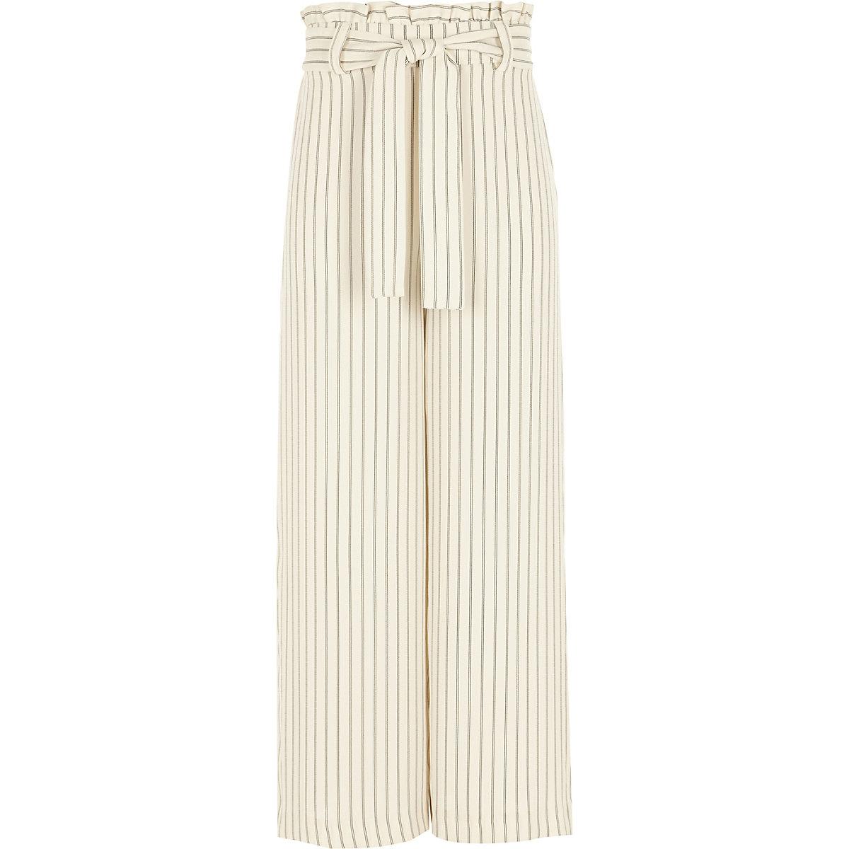 Girls cream stripe paperbag waist trousers