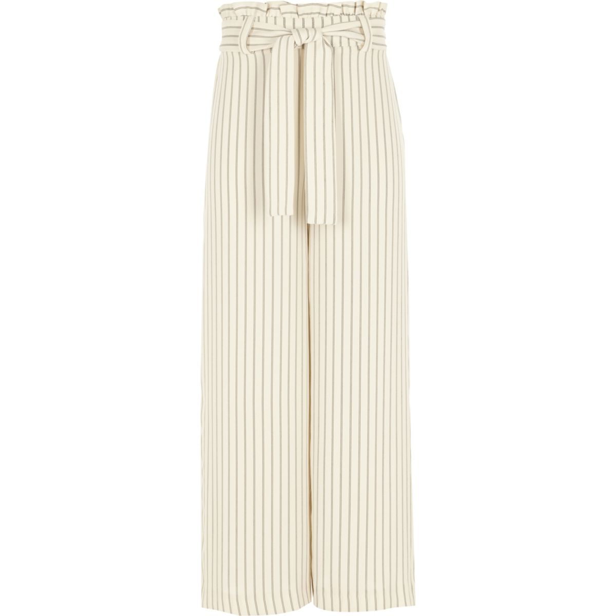 Girls cream stripe paperbag waist trousers