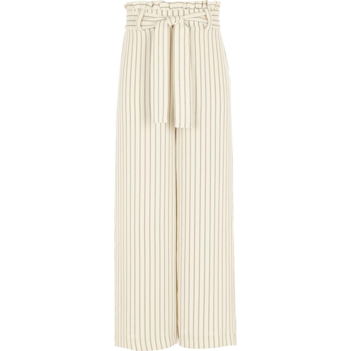 Girls cream stripe paperbag waist pants