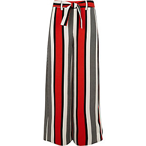 Girls red stripe tie waist trousers