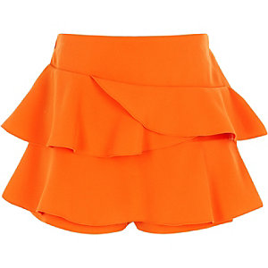 Girls orange rara frill skort