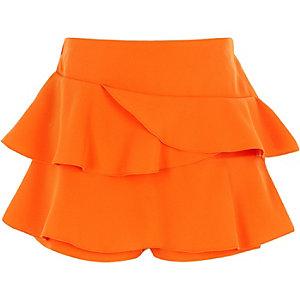 Oranje skort met ruches voor meisjes