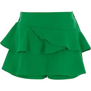 Grüner Hosenrock mit Rüschen