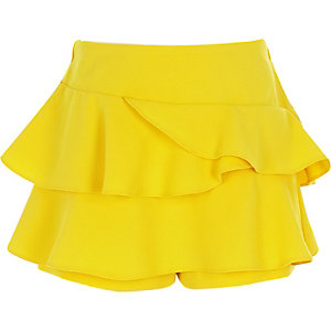 Girls yellow rara frill skort