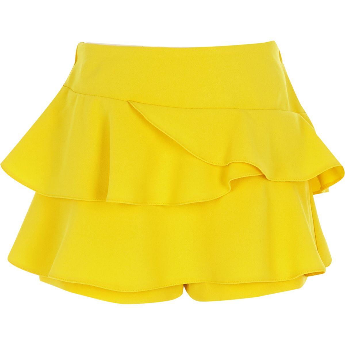 Jupe-culotte rara jaune à volant pour fille