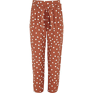 Girls brown spot print tapered pants