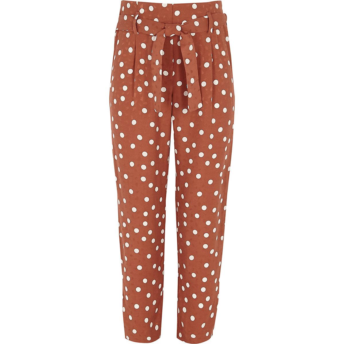 Girls brown spot print tapered pants