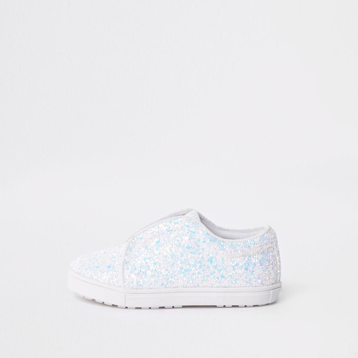 Mini girls white glitter plimsolls