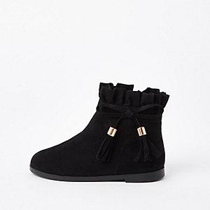 Schwarze Paperbag-Stiefel