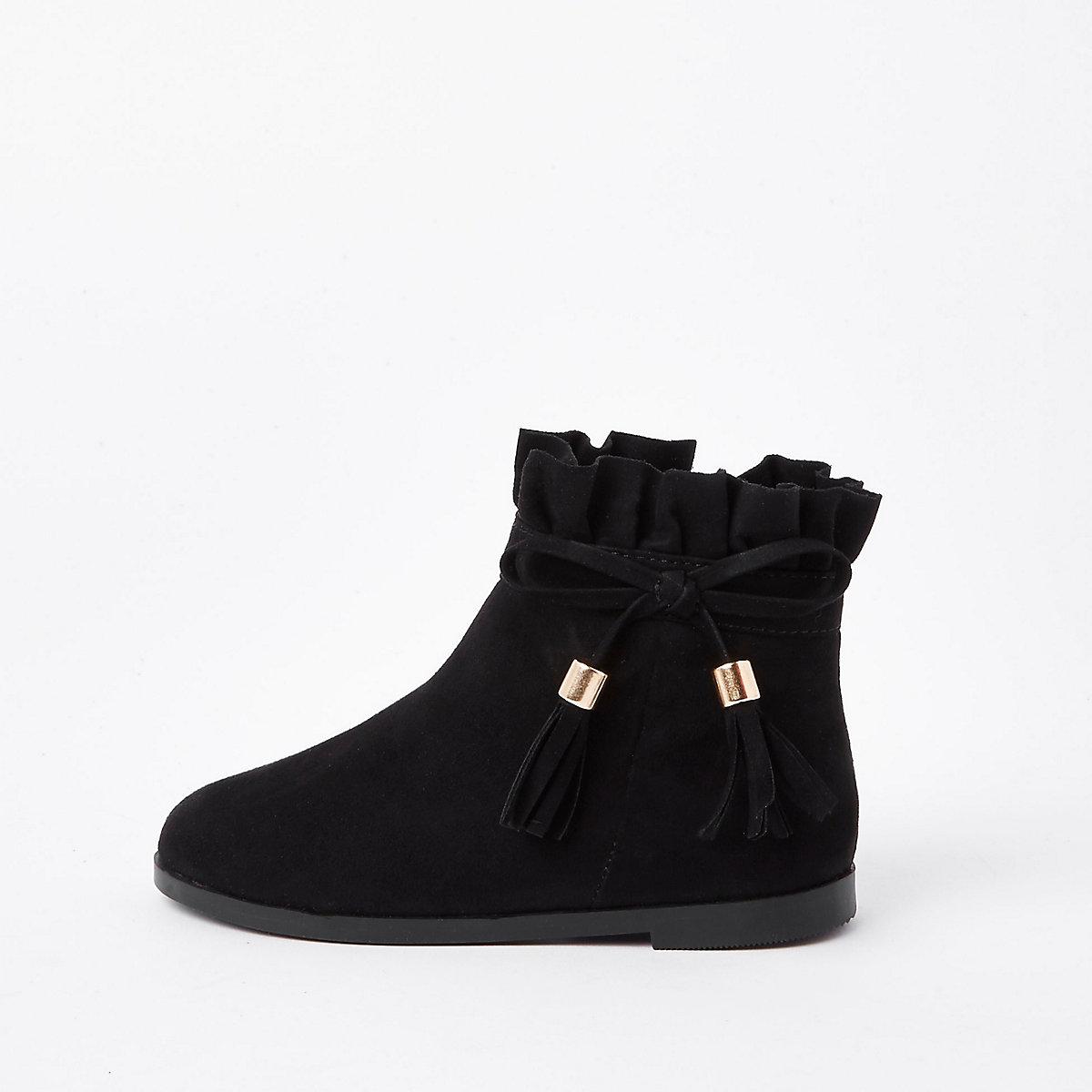 Mini girls black paperbag bow detail boots