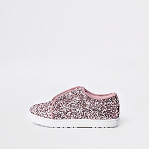 Mini girls pink glitter plimsolls