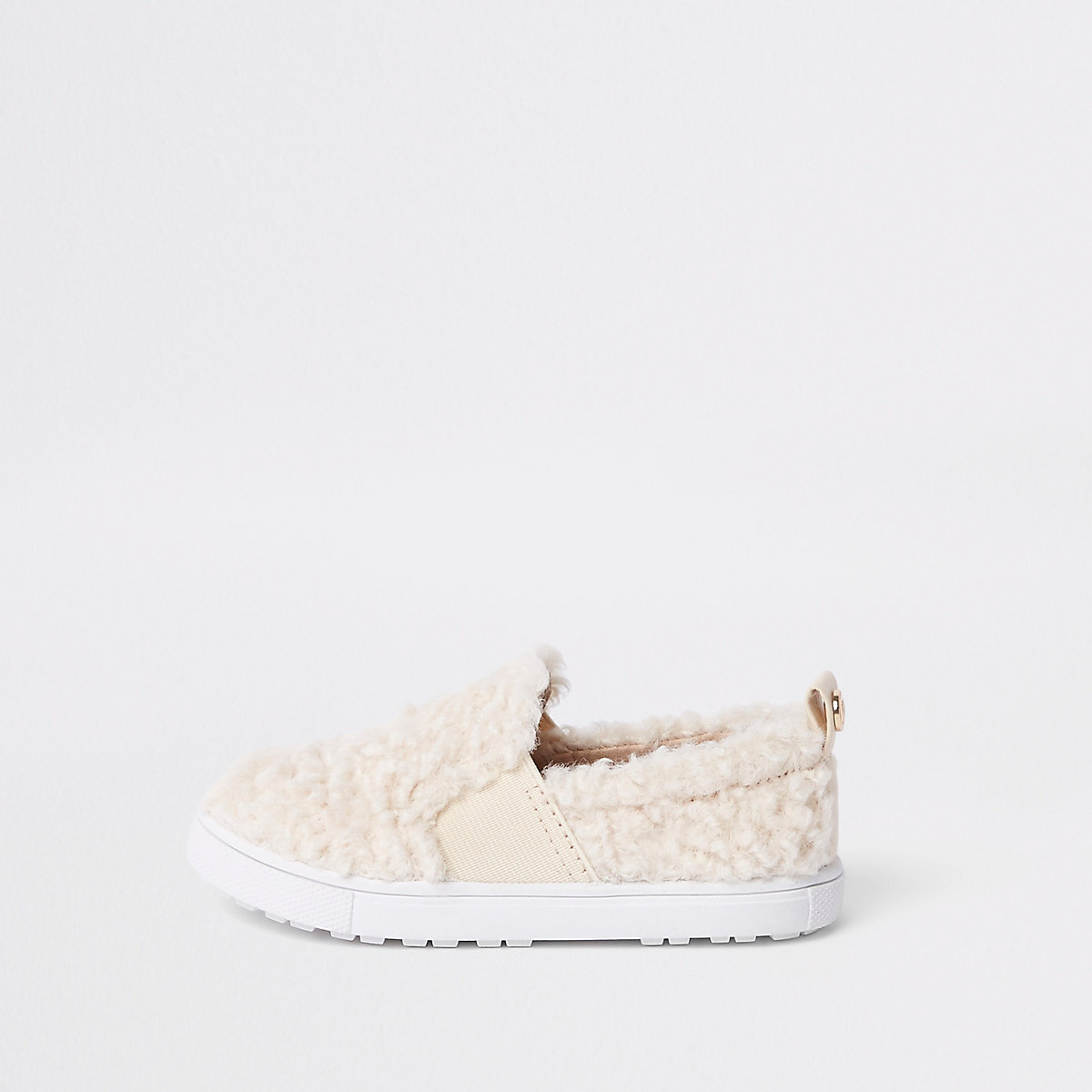 Mini girls cream faux fur slip on plimsolls