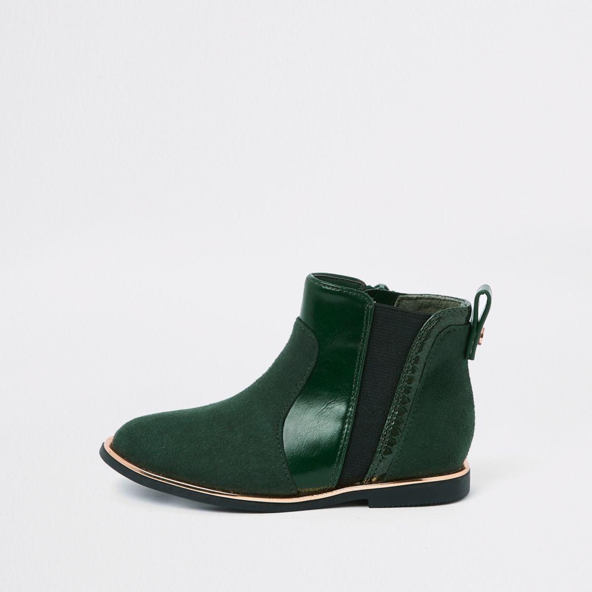 Mini girls green croc panel patent boots