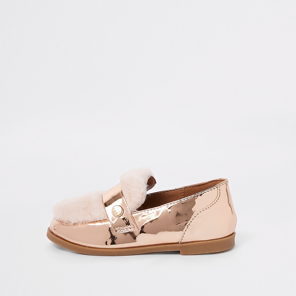 Mini girls rose gold faux fur loafers