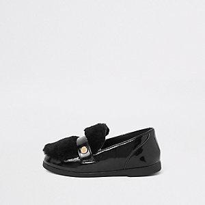 Mini - Zwarte loafers met imitatiebont voor meisjes