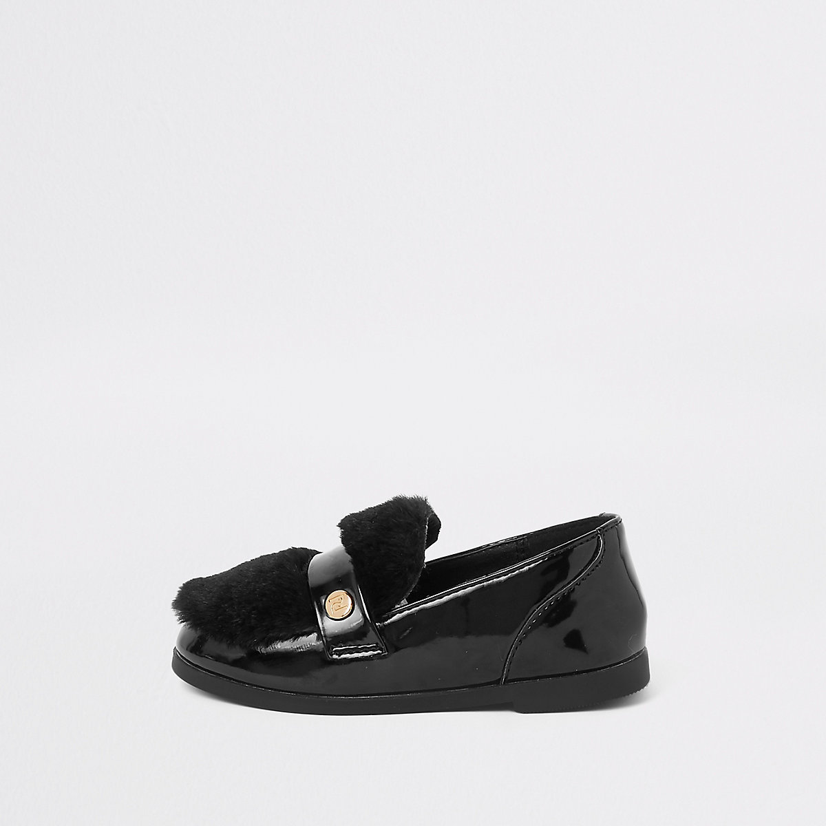 Mini girls black faux fur loafers