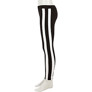 Girls black contrast stripe leggings