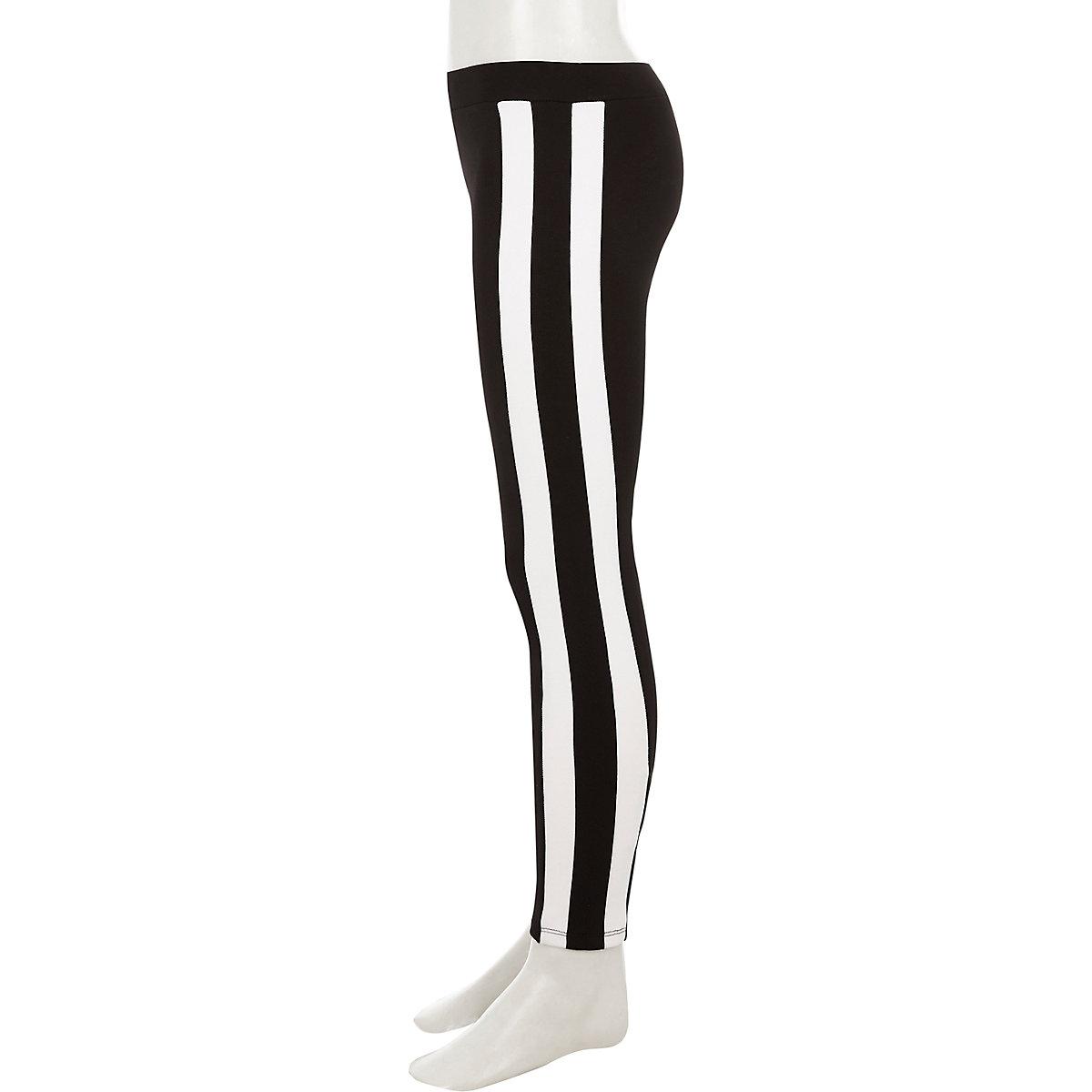 Girls black contrast stripe leggings