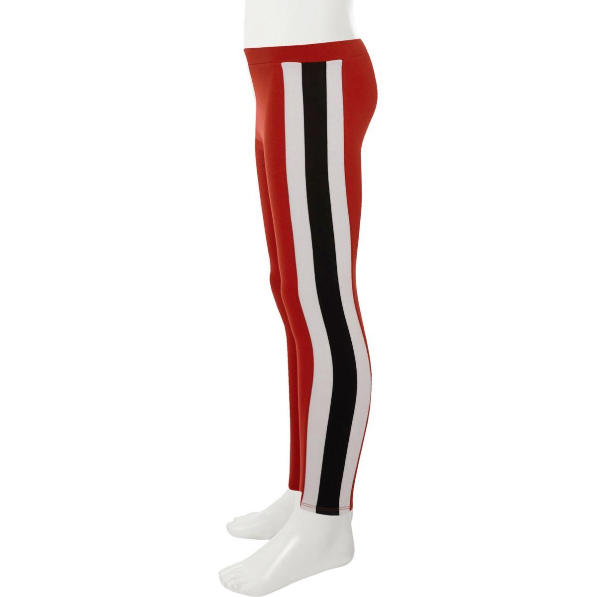 Girls red side stripe ponte leggings